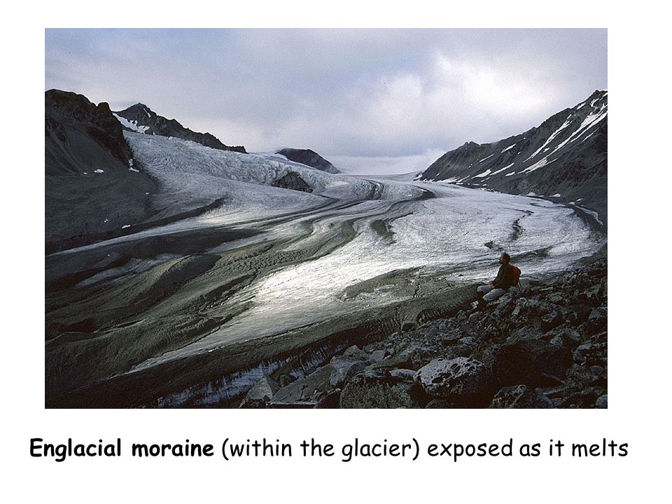 Englacial moraine (within the glacier) exposed as it melts