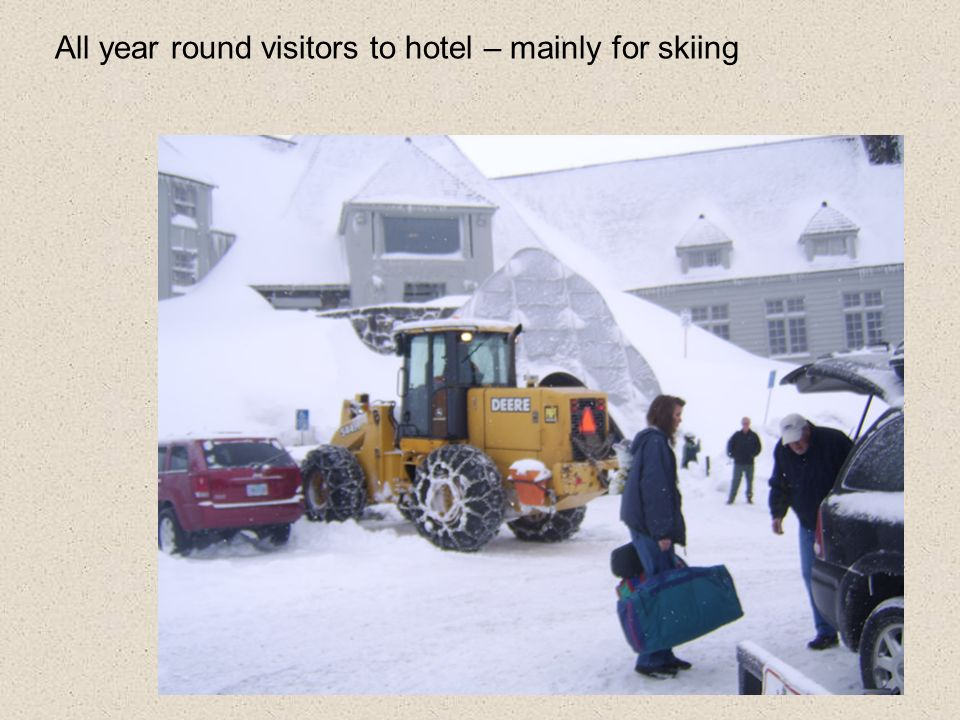 All year round visitors to hotel – mainly for skiing