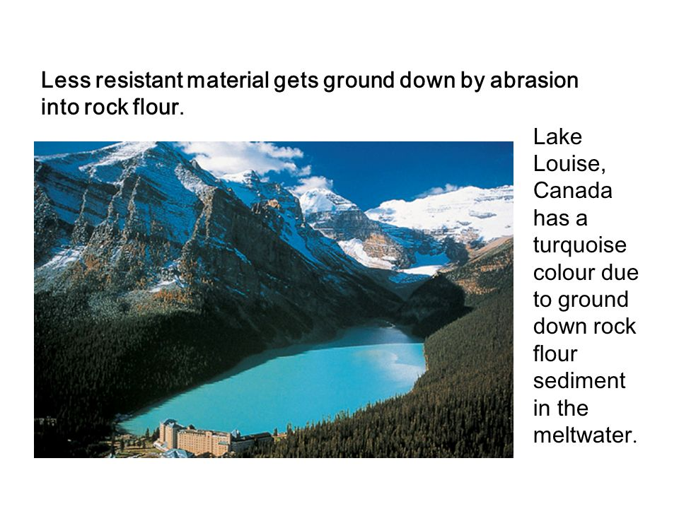 Less resistant material gets ground down by abrasion into rock flour.