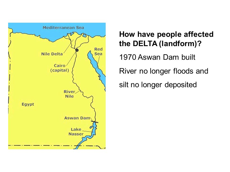 How have people affected the DELTA (landform)
