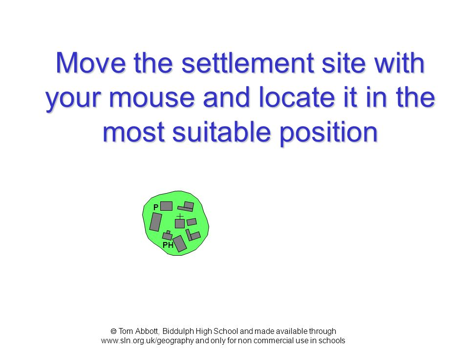 Move the settlement site with your mouse and locate it in the most suitable position
