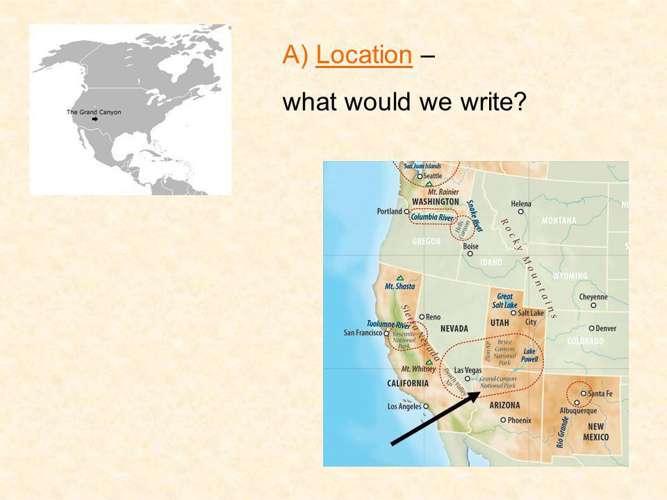 A) Location – what would we write