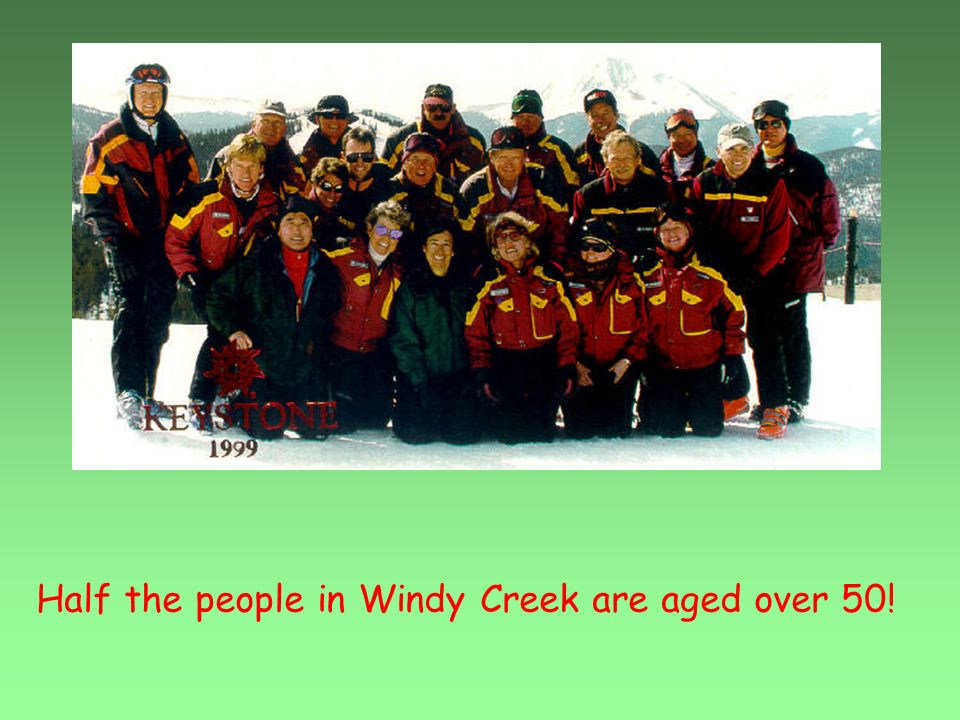 Half the people in Windy Creek are aged over 50!