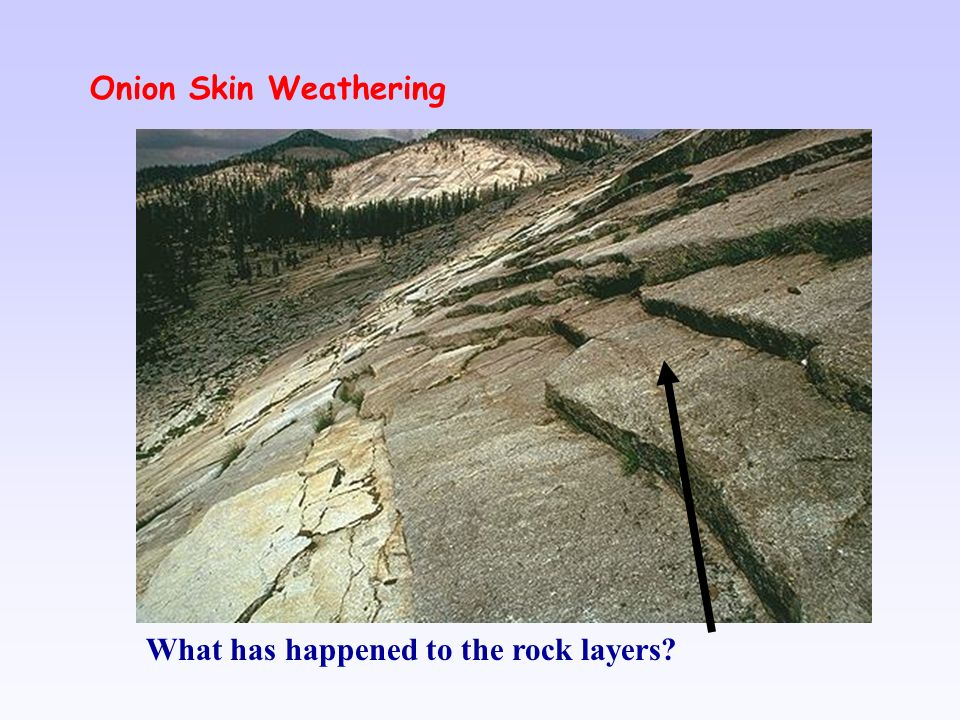 Onion Skin Weathering What has happened to the rock layers