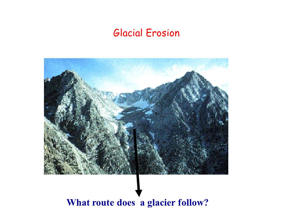 Glacial Erosion What route does a glacier follow