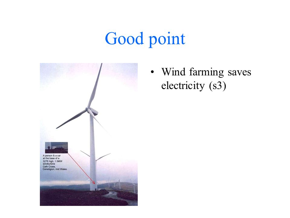 Good point Wind farming saves electricity (s3)
