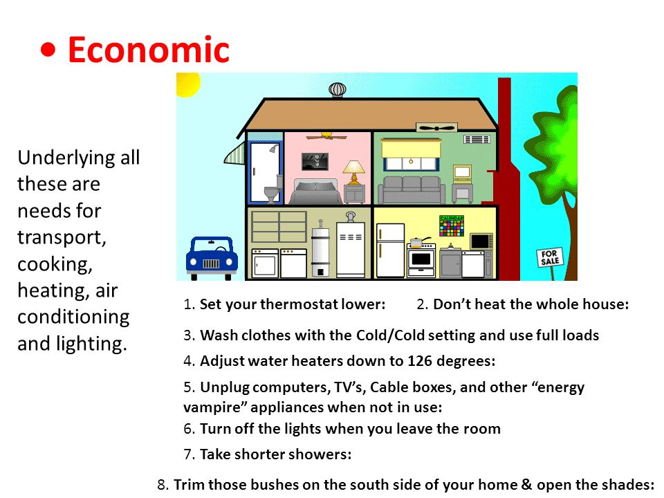 • Economic Underlying all these are needs for transport, cooking, heating, air conditioning and lighting.