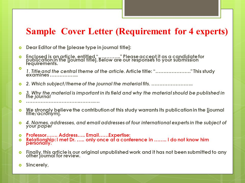 Cover letter for publication of paper