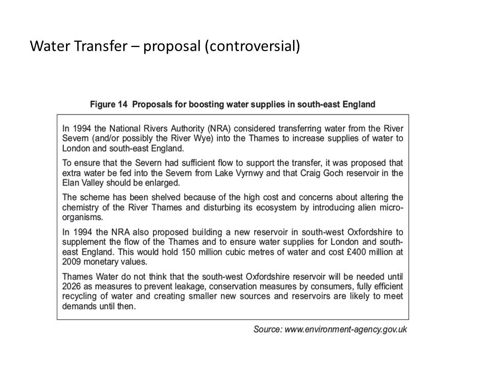 Water Transfer – proposal (controversial)
