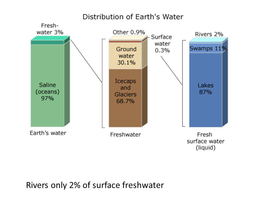 Rivers only 2% of surface freshwater