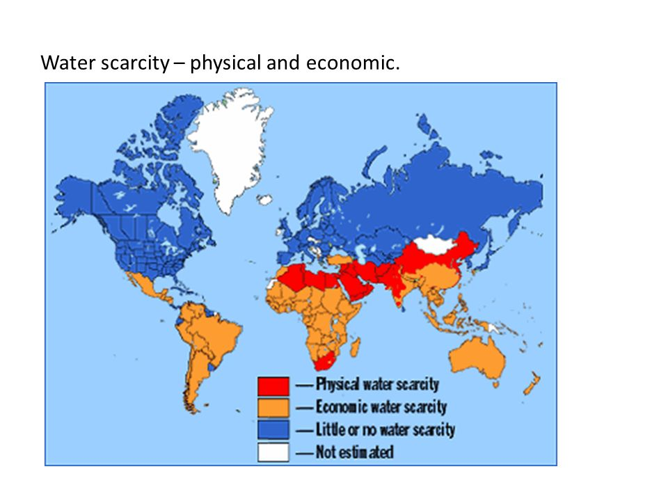 Water scarcity – physical and economic.