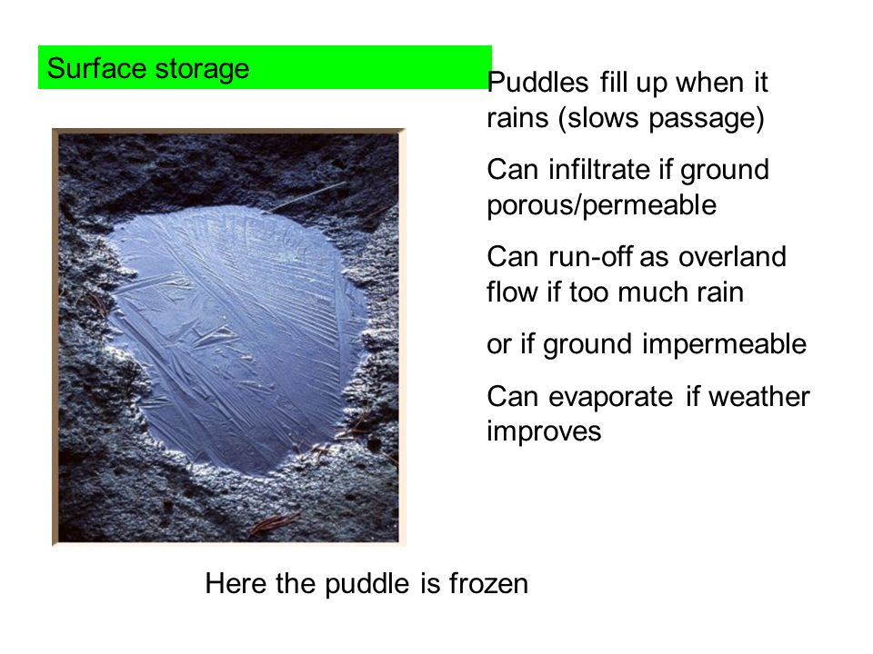 Surface storage Puddles fill up when it rains (slows passage) Can infiltrate if ground porous/permeable.
