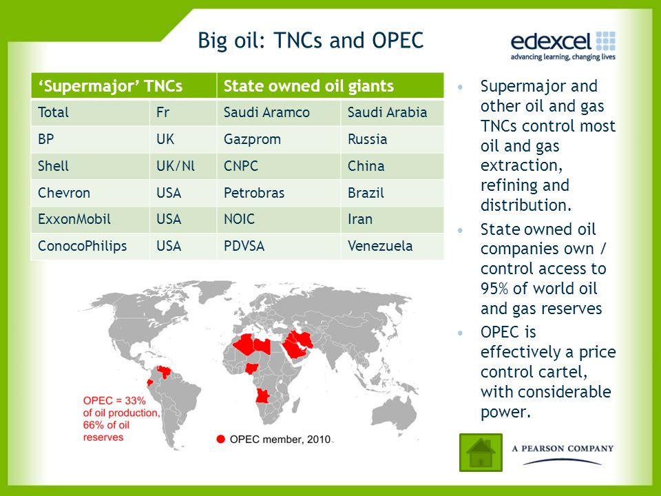 Big oil: TNCs and OPEC 'Supermajor' TNCs State owned oil giants