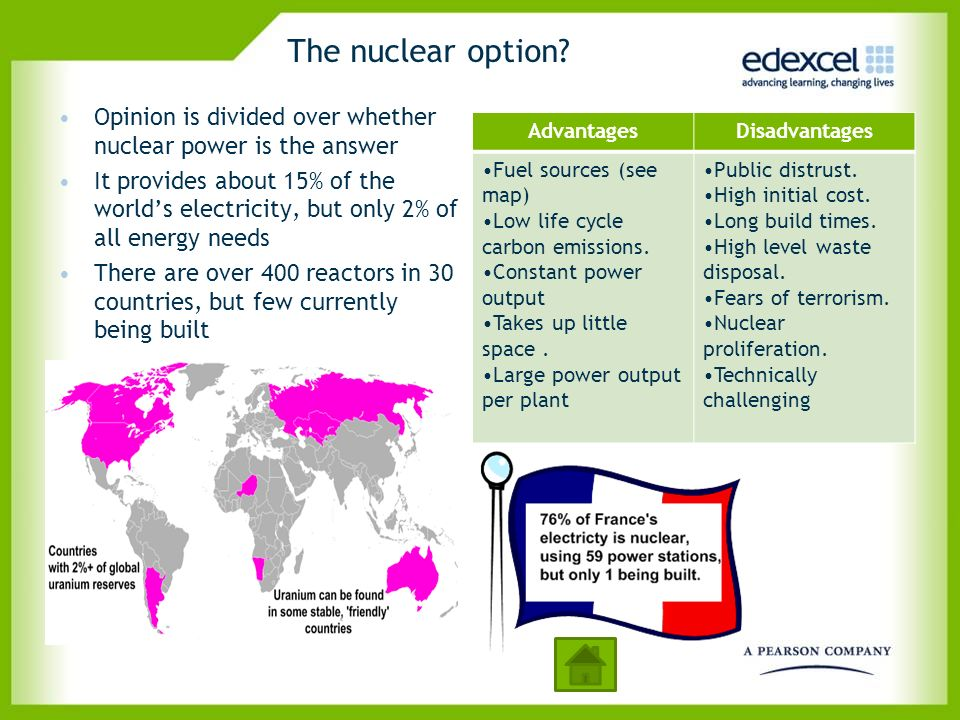 The nuclear option Opinion is divided over whether nuclear power is the answer.