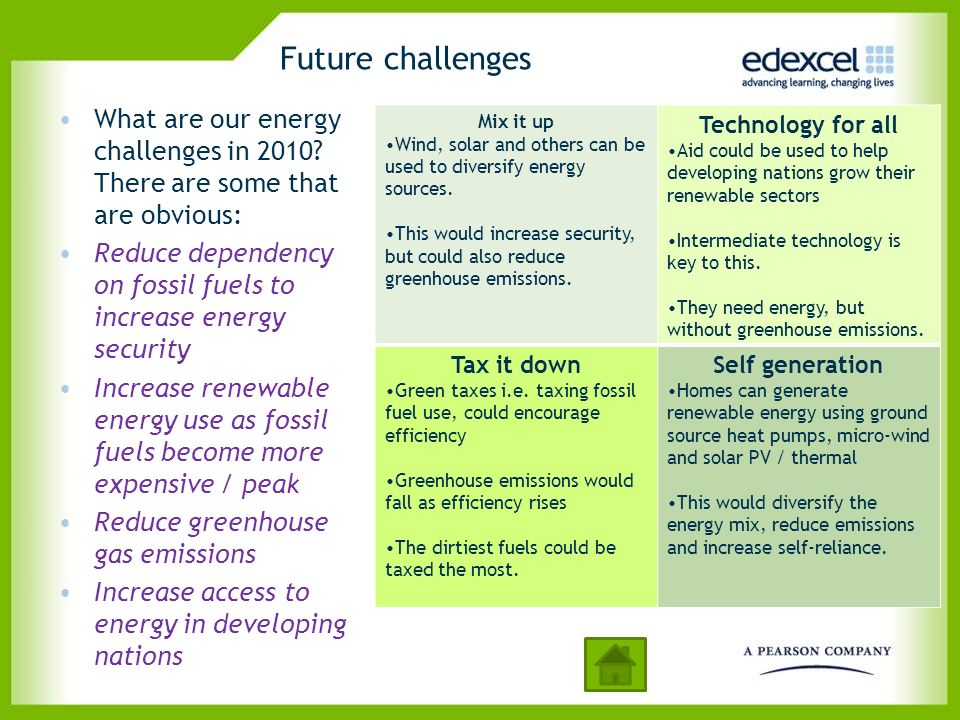 Future challenges What are our energy challenges in 2010 There are some that are obvious:
