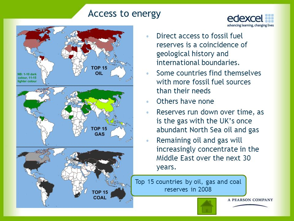 Top 15 countries by oil, gas and coal reserves in 2008