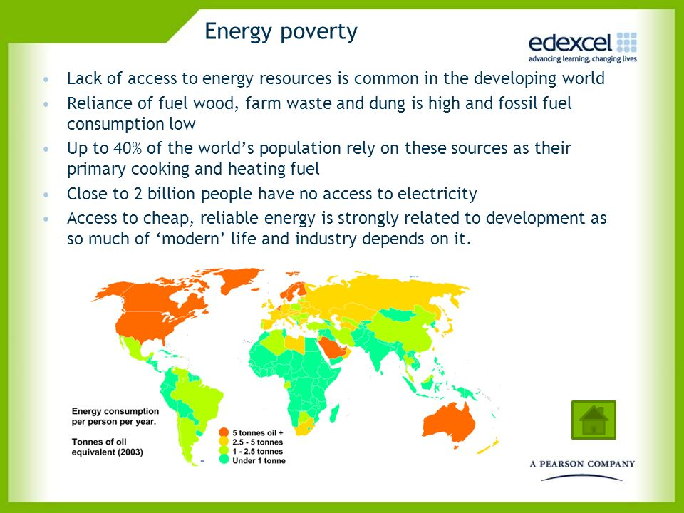 Energy poverty Lack of access to energy resources is common in the developing world.