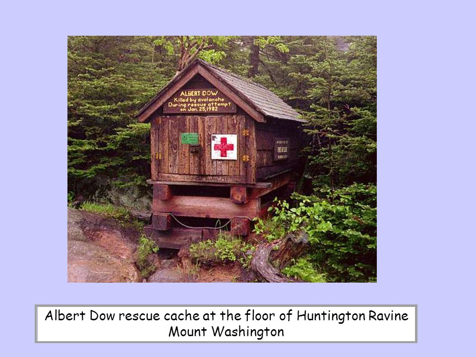 Albert Dow rescue cache at the floor of Huntington Ravine