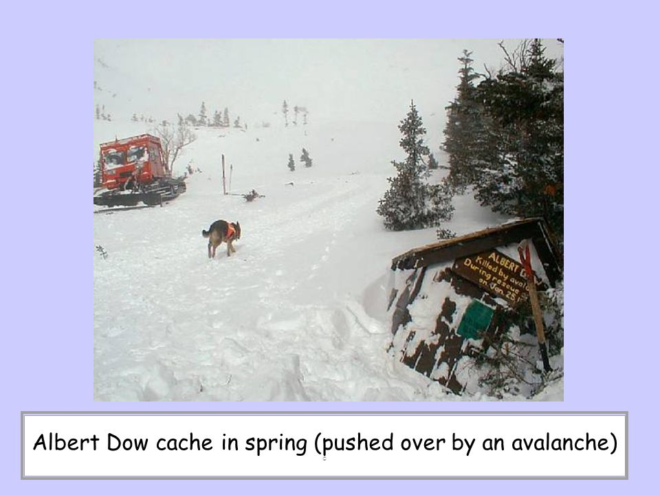 Albert Dow cache in spring (pushed over by an avalanche) ©