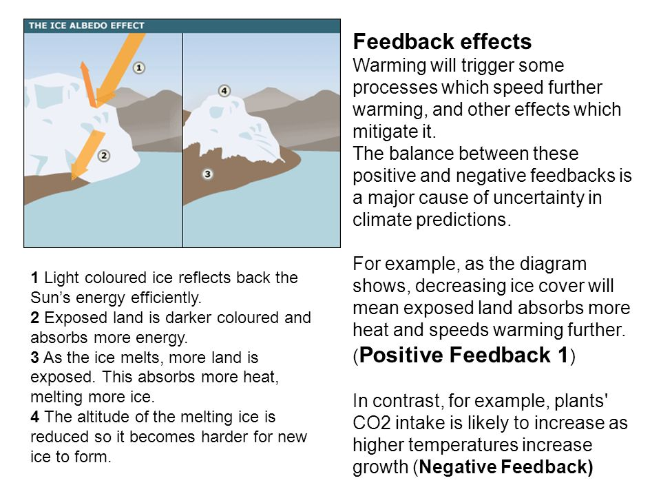 Feedback effects Warming will trigger some processes which speed further warming, and other effects which mitigate it. The balance between these positive and negative feedbacks is a major cause of uncertainty in climate predictions.