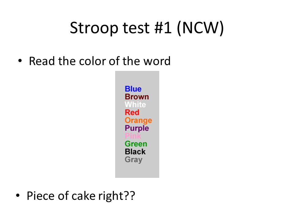investigating stroop effect using coloured associated words Methods an 8-week rct to examine the effect of a commercial cct program, alone and preceded by a 15-min brisk walk, on cognitive function and explore the underlying neural mechanisms in adults aged 65–85 years old.