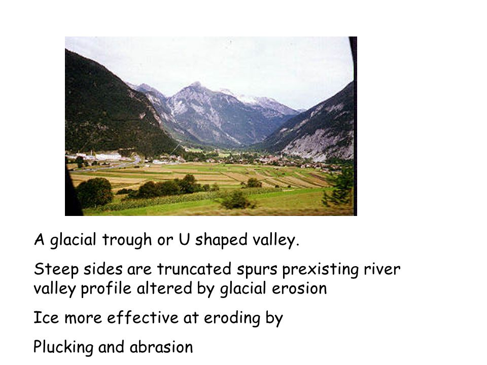A glacial trough or U shaped valley.