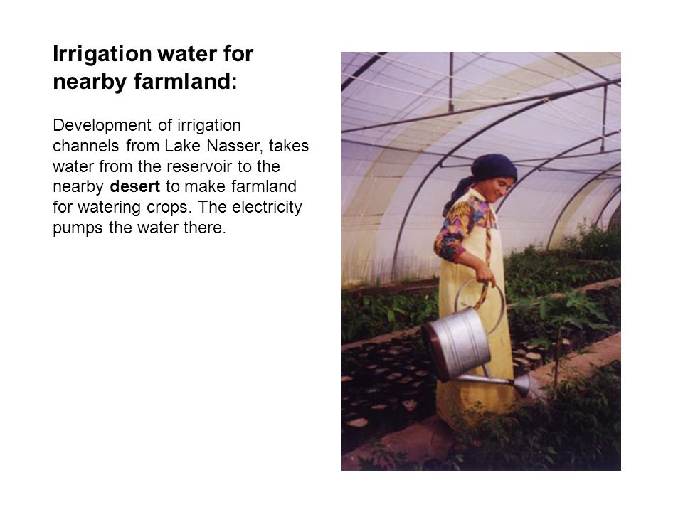 Irrigation water for nearby farmland: