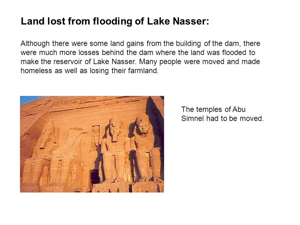 Land lost from flooding of Lake Nasser: