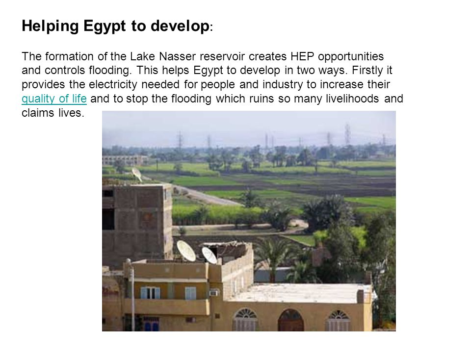 Helping Egypt to develop: