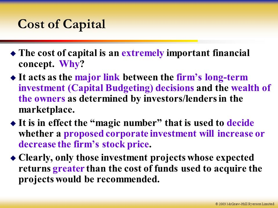 various concepts of cost of capital Do you know your cost of capital michael might well estimate very different costs of equity purely because they don understand the concept of.