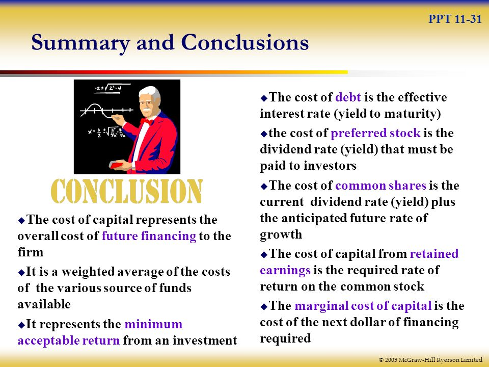 summary cost of capital A company's cost of capital is the cost of money the company uses to finance their operations and purchases of assets summary of cost of capital.
