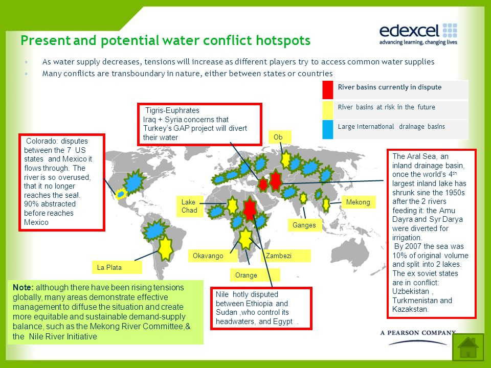 Present and potential water conflict hotspots