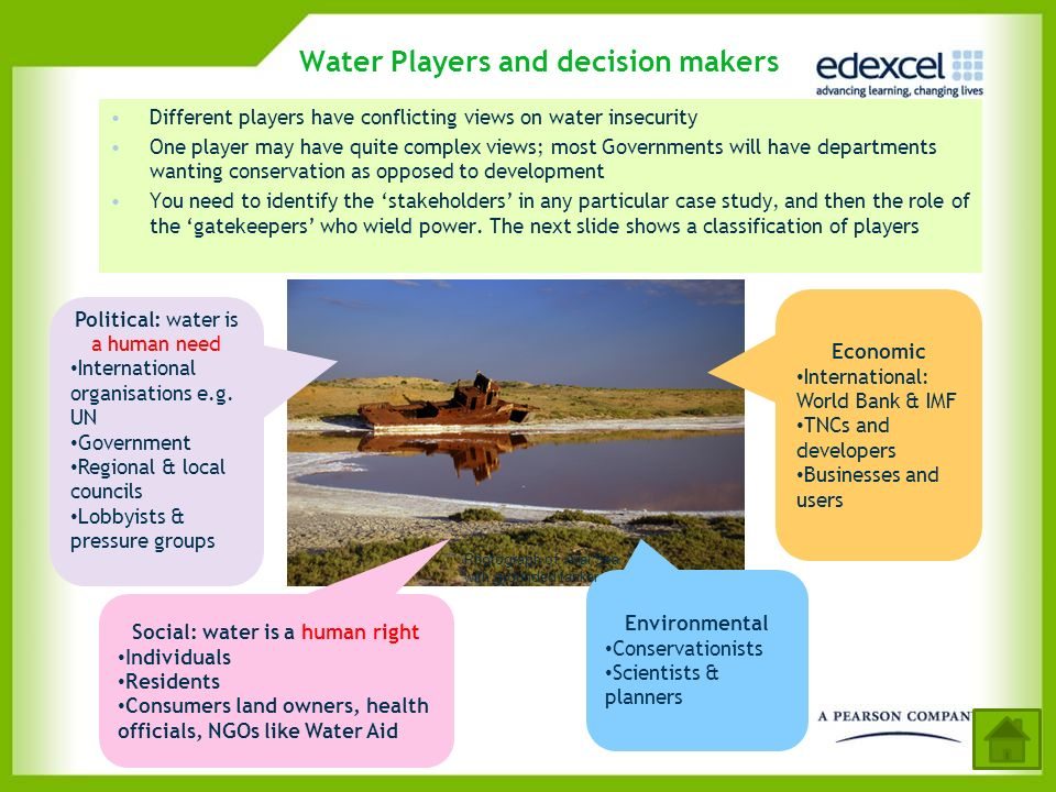 Water Players and decision makers