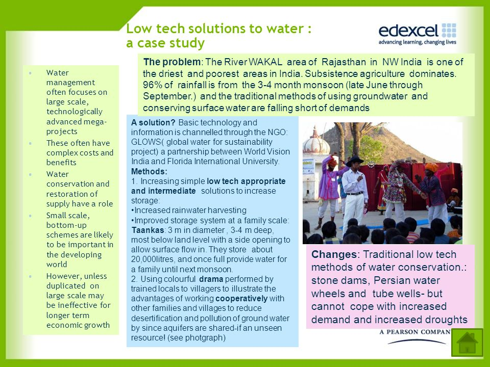 Low tech solutions to water : a case study