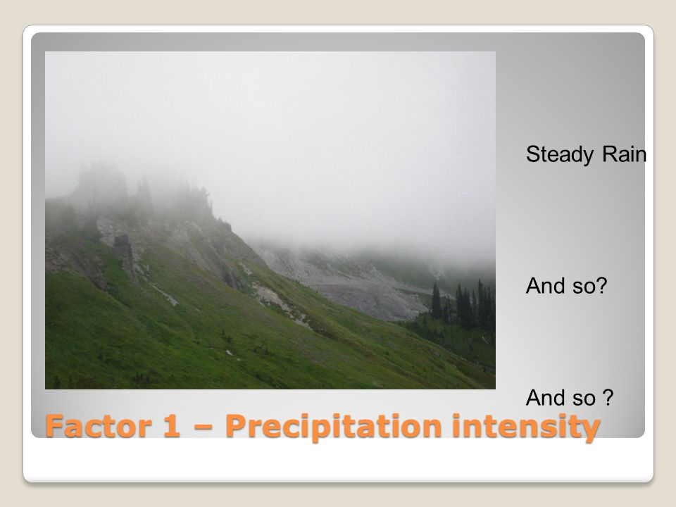 Factor 1 – Precipitation intensity
