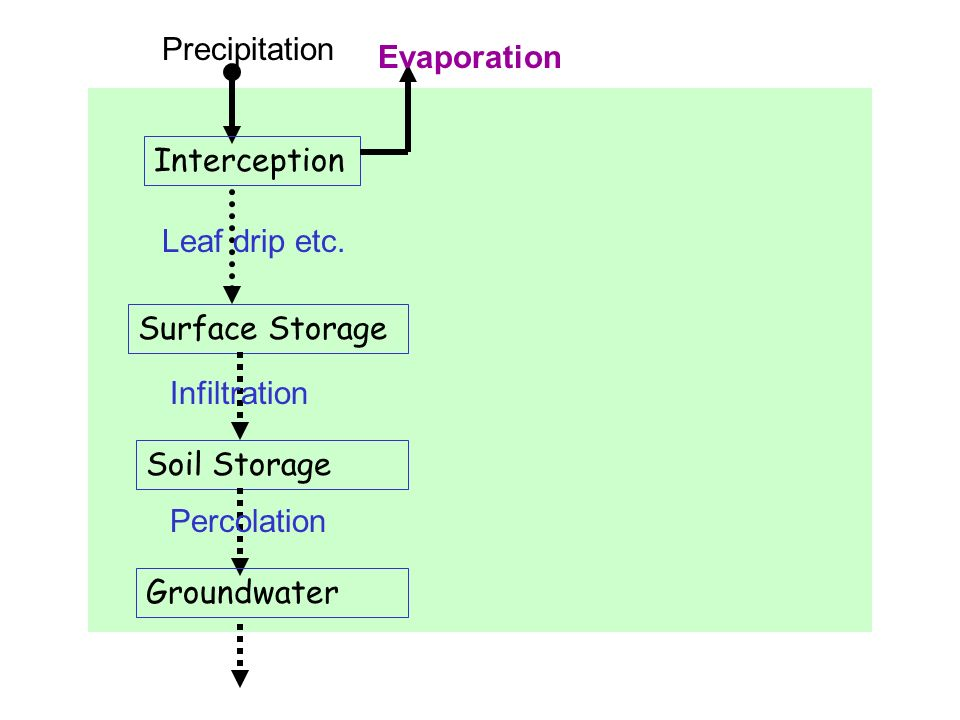 Precipitation Evaporation. Interception. Leaf drip etc. Surface Storage. Infiltration. Soil Storage.