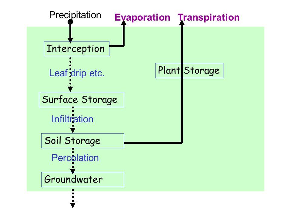 Precipitation Evaporation. Transpiration. Interception. Plant Storage. Leaf drip etc. Surface Storage.