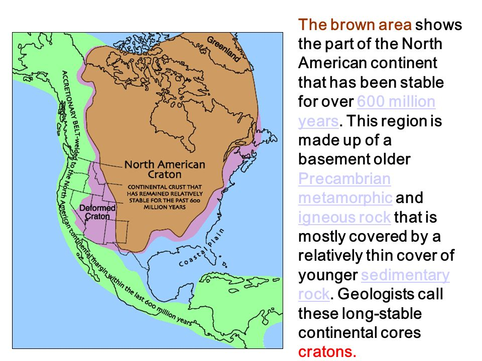 The brown area shows the part of the North American continent that has been stable for over 600 million years.
