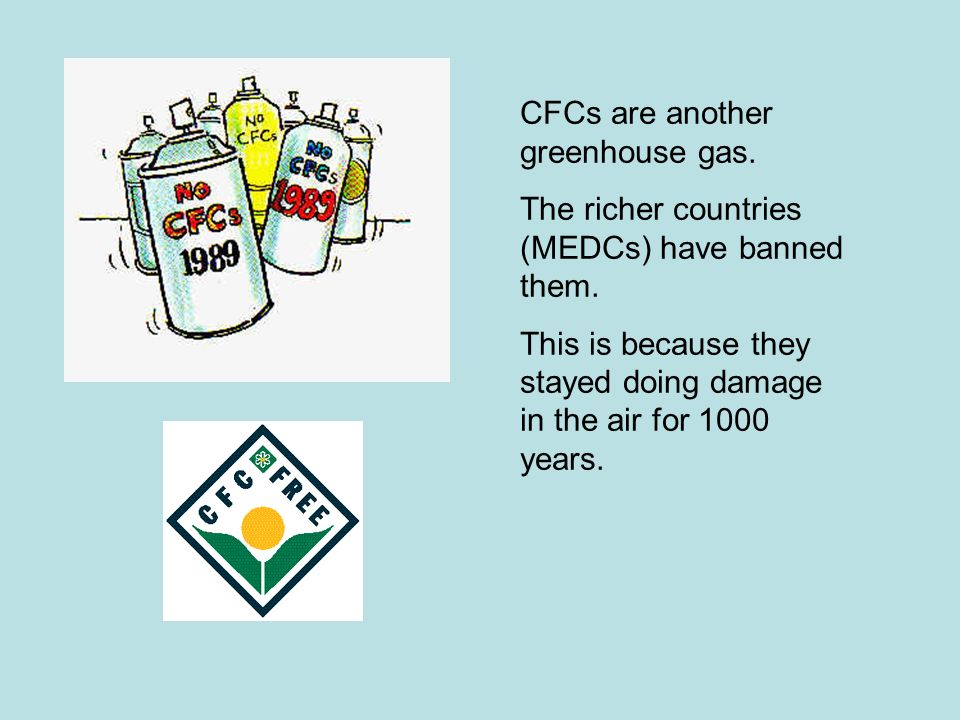 CFCs are another greenhouse gas.