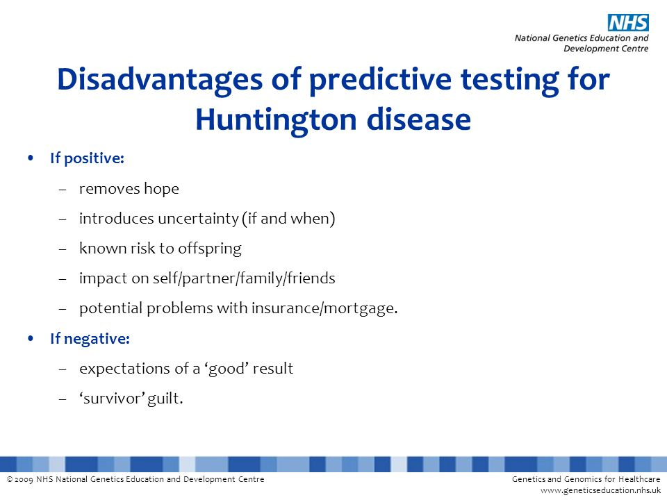 Disadvantages of predictive testing for Huntington disease