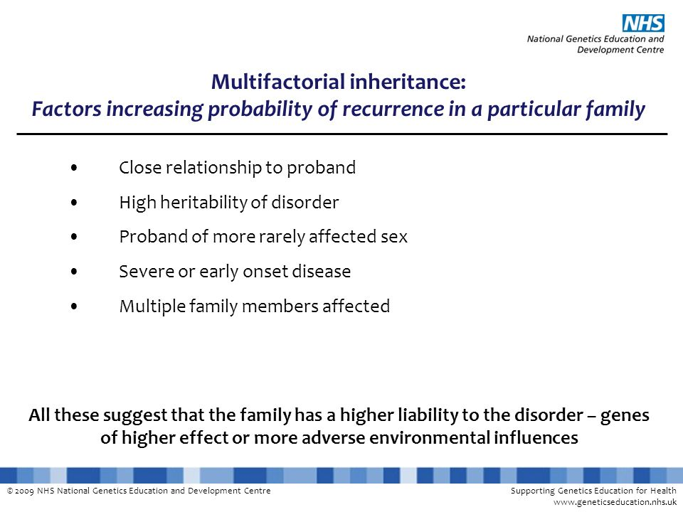 Multifactorial inheritance: Factors increasing probability of recurrence in a particular family