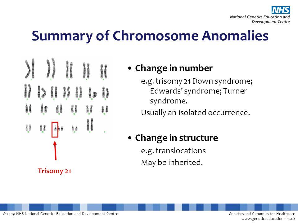 Summary of Chromosome Anomalies