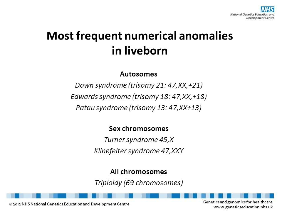 Most frequent numerical anomalies in liveborn