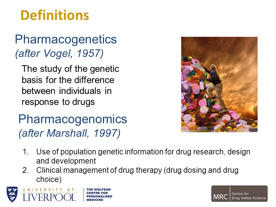 Definitions Pharmacogenetics Pharmacogenomics (after Vogel, 1957)