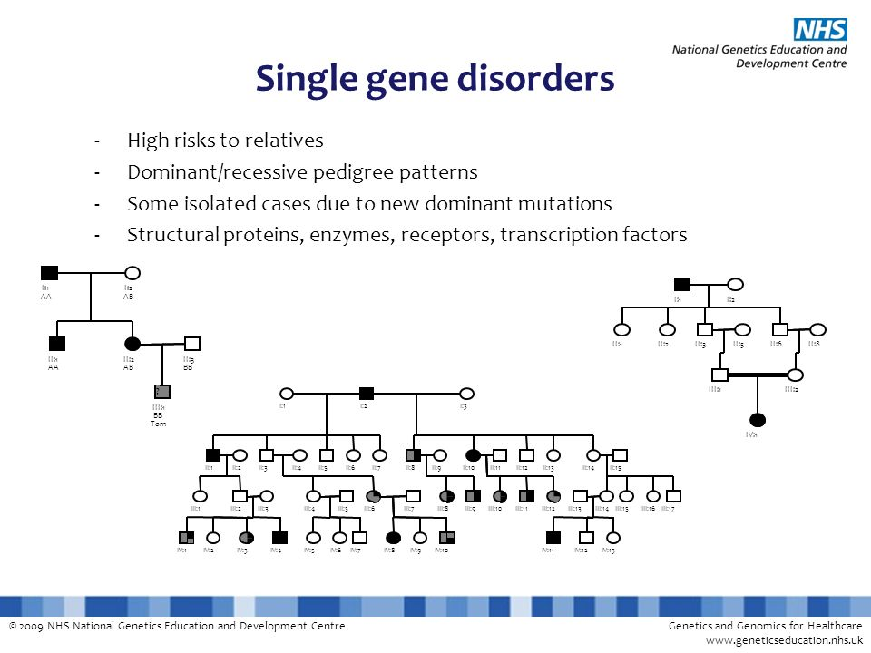 Single gene disorders High risks to relatives