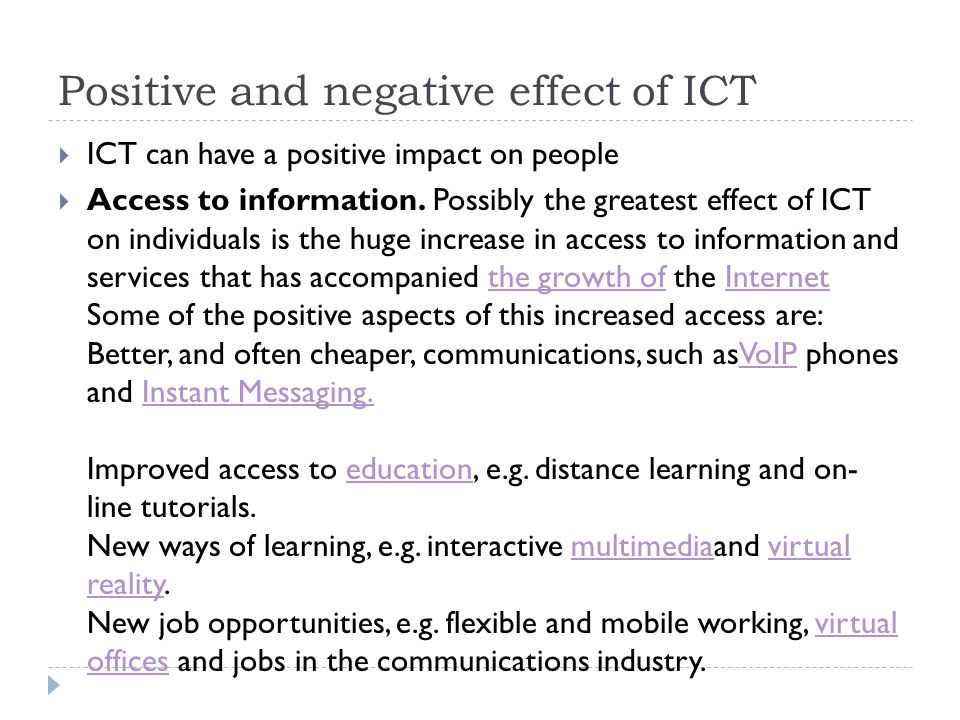 effects of ict Effects of using ict - igcse module 6 theory slideshare uses cookies to improve functionality and performance, and to provide you with relevant advertising if you continue browsing the.