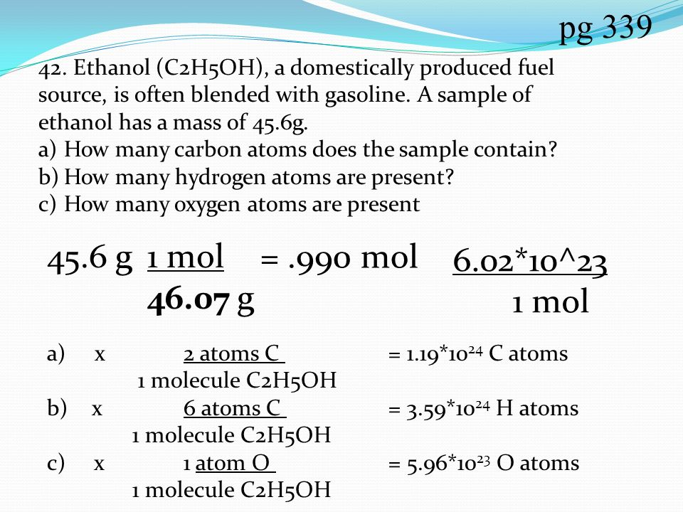 how to find out the molar mass of ethanol