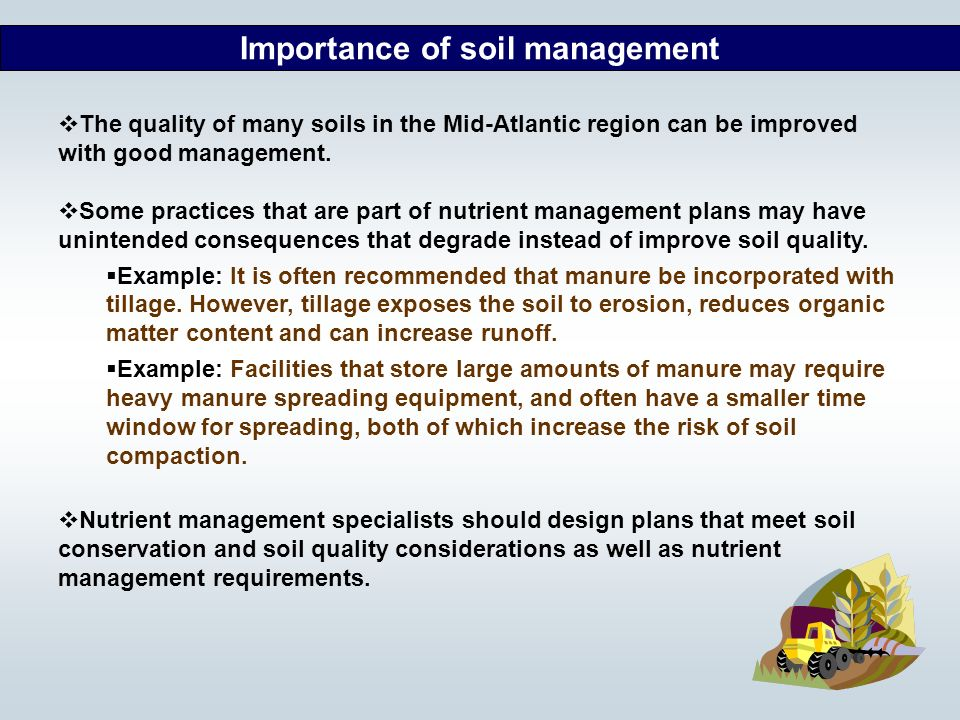 the importance of soil quality and conservation The response of soil quality indicators to conservation management can  the  importance of land-use legacies to ecology and conservation.
