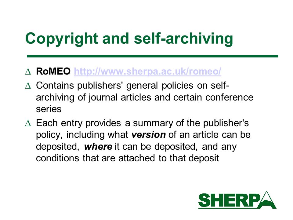 Copyright and self-archiving