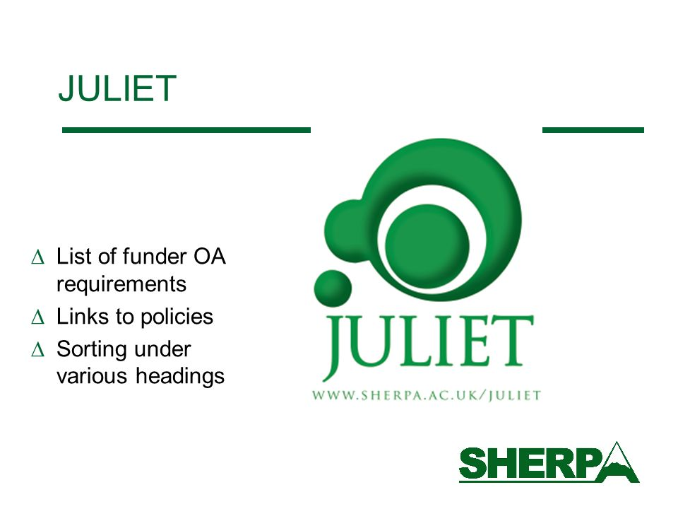 JULIET List of funder OA requirements Links to policies